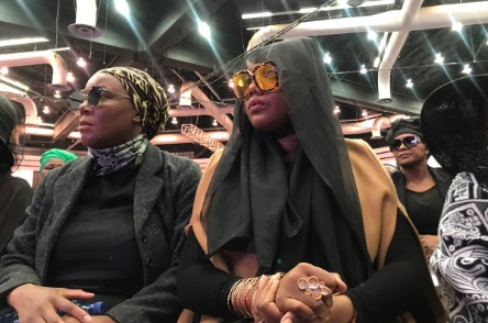 Lerato Sengadi seated next to her mom at Jabba's funeral.