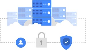 5 server stacks networked by dotted line that has circle image of a person, a locked padlock, and a blue security shield bearing a checkmark