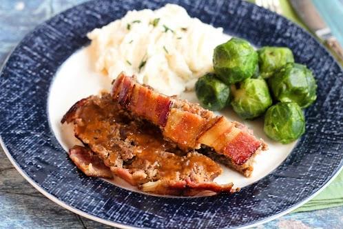 Bacon Wrapped Salisbury Meatloaf