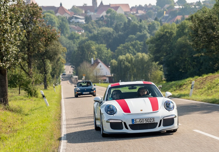 Driving through the German countryside in the Porsche 911R