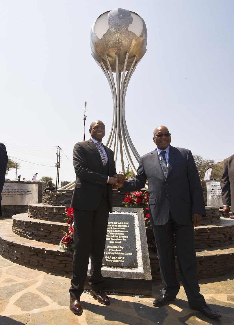 President Jacob Zuma opened the President Jacob Zuma Site of Arrest, which forms part of the Liberation Heritage Route of the Bokone Bophirima Province, on 4 October 2017. on 4 October 2017.