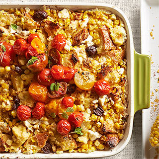 Tomato-Topped Corn and Feta Casserole.