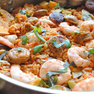 Paella with Zucchini, Shrimp and Chicken Recipe
