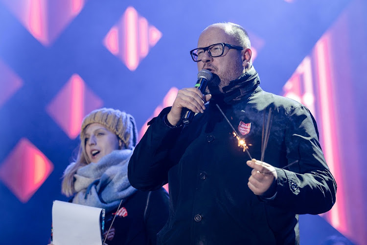Gdansk's Mayor Pawel Adamowicz speaks during the 27th Grand Finale of the Great Orchestra of Christmas Charity in Gdansk, Poland on January 13 2019. He died on Monday of his wounds a day after being stabbed on stage at a charity event. Picture: AGENCJA GAZETA via REUTERS