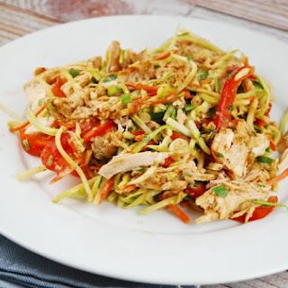 Chicken and Broccoli Slaw Salad with Almond Butter Dressing