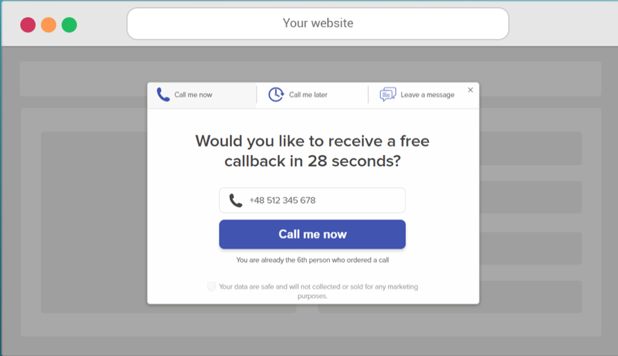 Callpage pop-up