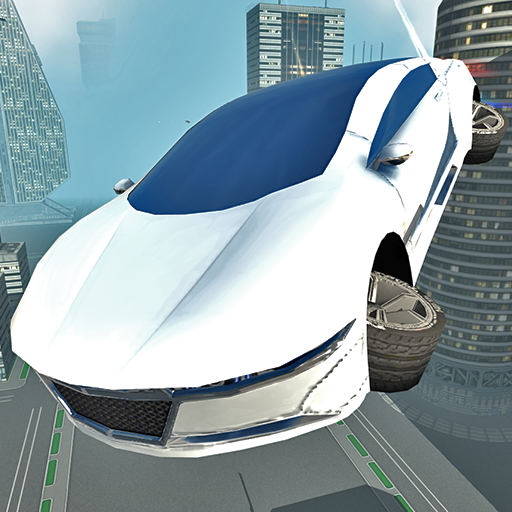 Futuristic Flying Car Driving