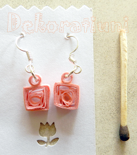 Photo: Cercei roz tehnica quilling, lacuit Preţ: 8 lei În stoc: 1 bucată  http://dekoratiuni.blogspot.ro/2014/05/cercei-roz.html