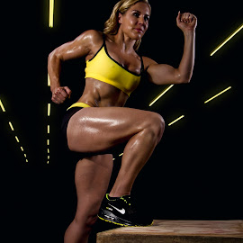 Steps by Carel Van Vuuren - Sports & Fitness Fitness ( stepping, fitness, sports, blond, sport, steps, yellow, run, crossfit, running, training, fit, train, legs, athlete, sweat )