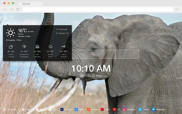 Elephant pop animal HD new tab page theme