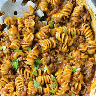 One-Pot Cheesy Taco Pasta.