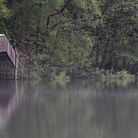 Dreamy Loch Ard by Andrew Magee - Landscapes Waterscapes ( water, reflection, loch ard, boathouse, landscape, mist )