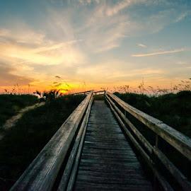 Sunrise on the boardwalk by Joseph Baker - Buildings & Architecture Bridges & Suspended Structures ( sunrise, florida, st. augustine, beach, vilaro beach, boardwalk )