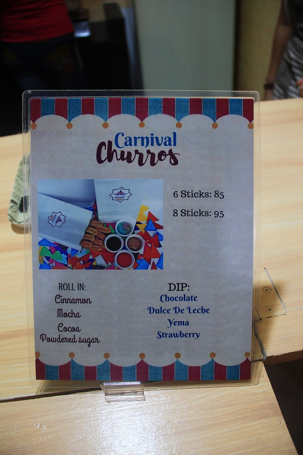Carnival Churros Menu