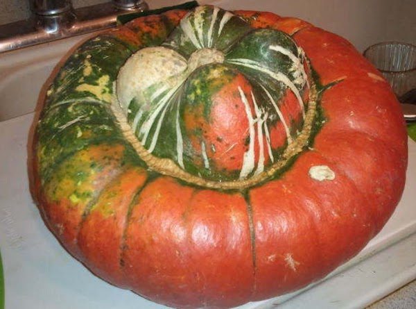 Pre-heat oven to 375. Wash and open the turban squash and clean out the...