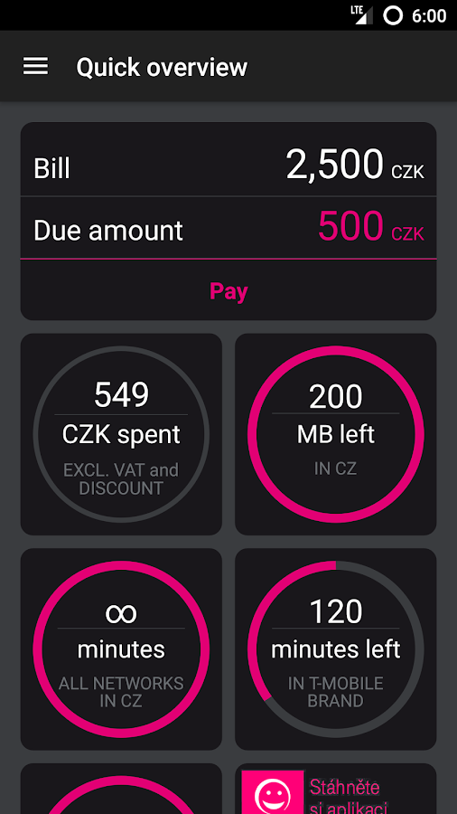 Můj T-Mobile- screenshot