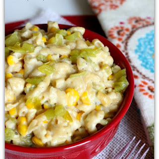 Slow Cooker Pepper Jack Mac with Green Chiles and Corn.