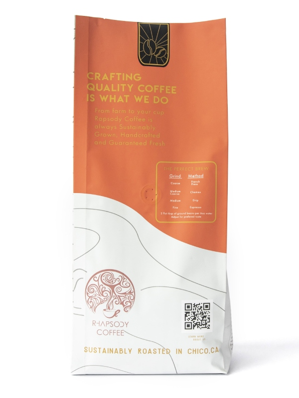 sustainable coffee bag with QR code