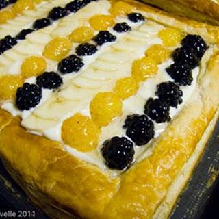 Blackberry, Golden Raspberry, Banana and Chocolate Fruit Tart