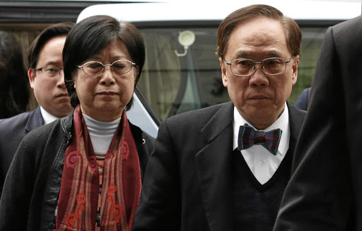 Former Hong Kong CEO Donald Tsang, his wife Selina and son Thomas arrive at the High Court in Hong Kong on February 20 2017. Picture: REUTERS