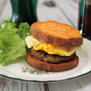 Whole 30 Breakfast Sandwiches with Homemade Pork-Apple Sausage.