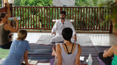 Photo: Daniel Fonseca with Yoga teacher trainees during Yoga class.