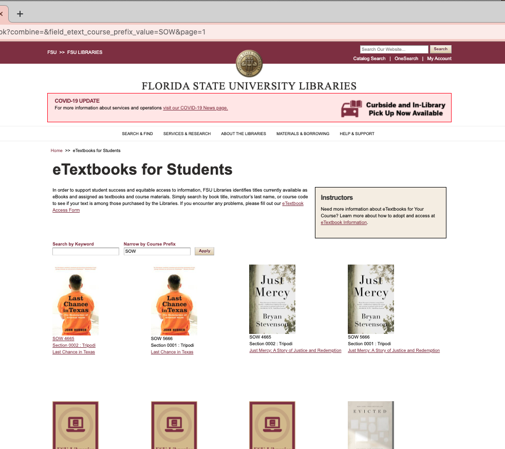 A screenshot of the eTextbook Search portal on the Library website.