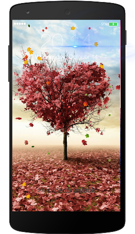 android Fall leaves Lock Screen Screenshot 2