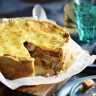 Chicken and Tarragon Pie with Polenta Crust.