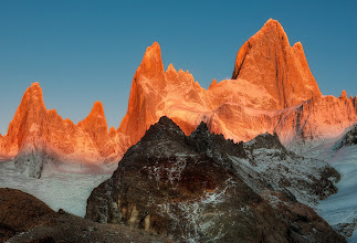 "Photo: A Razor to the Sky  This is of the indomitable Fitz Roy at sunrise buried deep in the Andes, in the hinterland between Argentina and Chile. To get this shot, it was none too easy! First, I ""woke"" up after a sleepless night in a two-man tent with Yuri. It was perhaps the worst night of my life and I've never had a panic attack before, but I honestly felt like I was pretty close. The smell combined with the pitch black, the snoring, the freezing cold, and the tiny tent was almost more than I could bear!  From Trey Ratcliff at www.stuckincustoms.com"