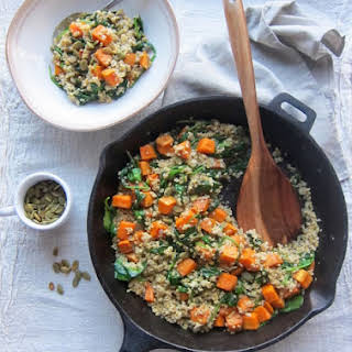 Freekeh, Sweet Potato + Spinach Bowl.