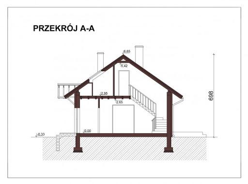 Mały dom w Chociwlu 1 - Przekrój