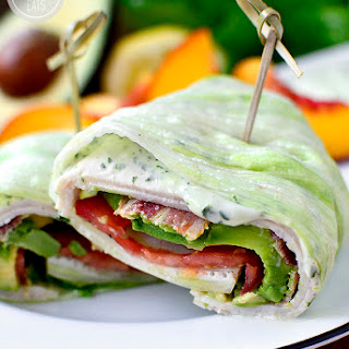 California Turkey and Bacon Lettuce Wraps with Basil-Mayo.