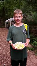 Photo: Cooking merit badge folks make scrambled eggs w/ veggies