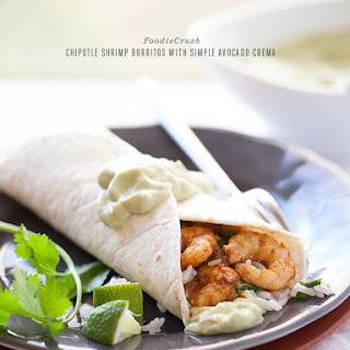 Chipotle Shrimp Burritos with Simple Avocado Crema.