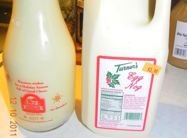 Here are 2 bottles of Eggnog that come from local farms. One in plastic...