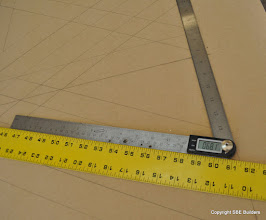 Photo: Horizontal plan rotation angle for skewed valley rafter,68.1°, it should have been 68.2°