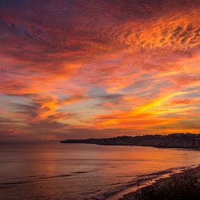 Red Sky by Luis Silva - Landscapes Beaches ( sunset, algarve, summer, portugal, sun, golden hour,  )