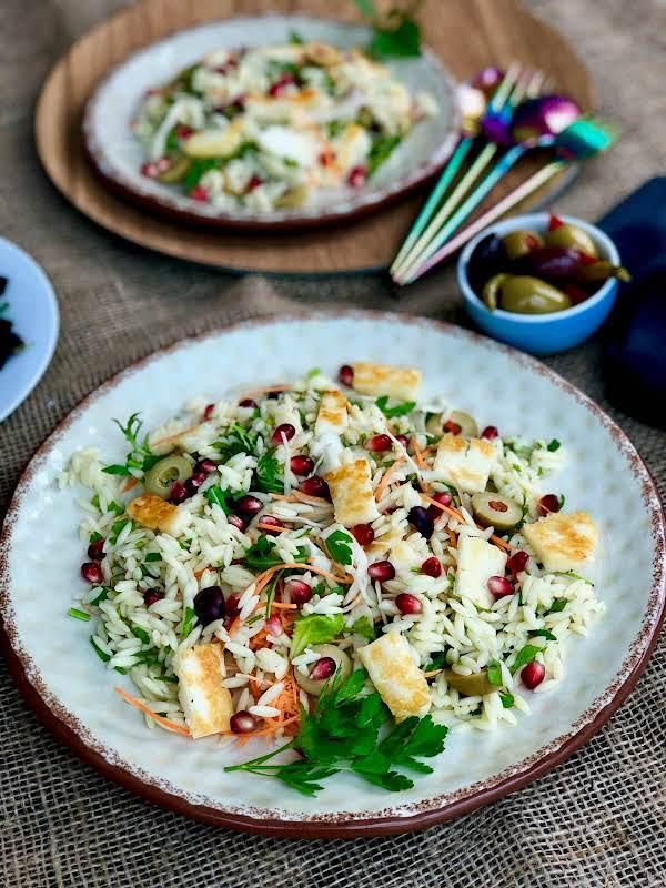 All Seasons Orzo, Halloumi And Olive Salad Recipe
