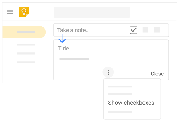 On the web, take a note, title it, and show checkboxes to change a list