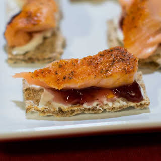 Smoked Salmon Canapes with Cream Cheese and Raspberry Fruit Spread.