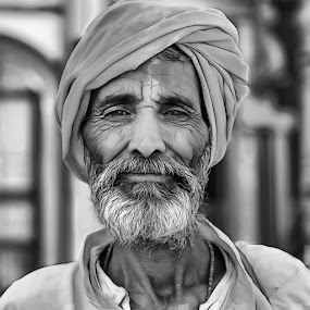 Indian Priest by Rulie Arifin - Black & White Portraits & People ( blackandwhite, black and white, portraits, people, portrait,  )