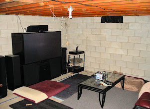 Photo: The basement as we used it while we waited, planned and saved for a basement theater remodeling project.