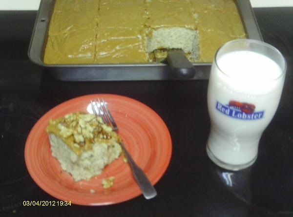 I added walnuts on top of the frosting  with a big glass of milk it was so good.