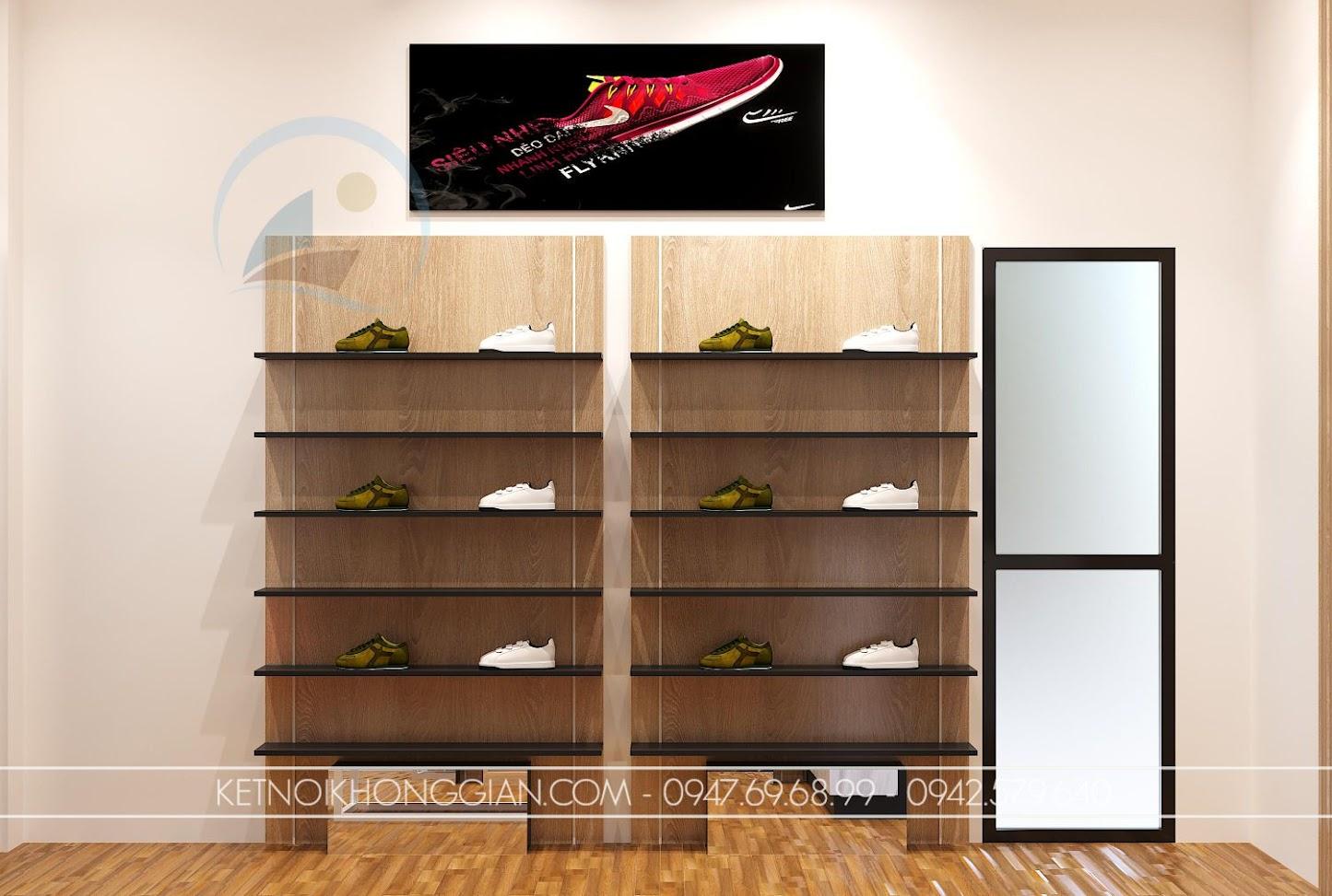 thiết kế shop giày dép nhỏ 16m2 cá tính
