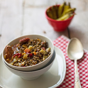 Puy Lentils with Vegetables and Chorizo Gallego