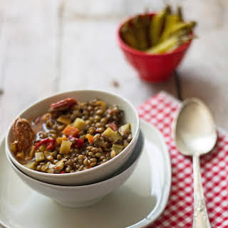Puy Lentils with Vegetables and Chorizo Gallego.
