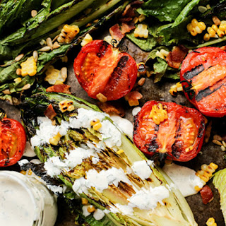 Grilled Romaine and Tomato Salad with Bacon and Homemade Buttermilk Ranch Dressing