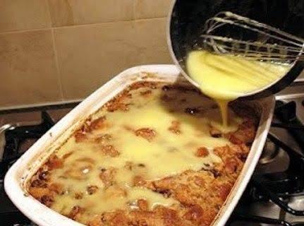 Grandma's Old-fashioned Bread Pudding With Vanilla Sauce Recipe