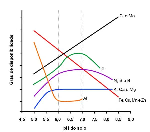 Disponibilidade de nutrientes em função do pH do solo